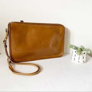 Vintage Coach Small Slim Clutch Tan Crossbody 7760